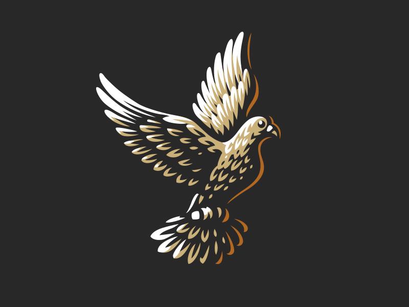 Pigeon vector style logo line icon illustration bird pigeon