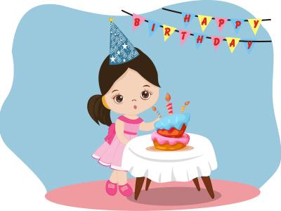 Happy Birthday graphic design book kids illustration vector design