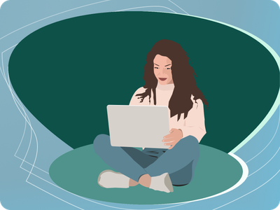 a girl with laptop graphic design illustration vector design
