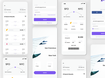 Airline ticket booking app booking app ticket flight air vector logo illustration app ui ux 3d typography design branding