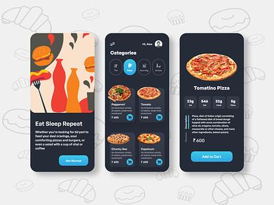 food ordering app vector illustration app ux design typography branding logo motion graphics graphic design 3d animation ui food ordering app
