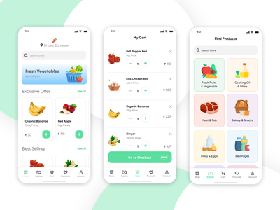 grocery shopping app vector illustration ux logo motion graphics ui animation graphic design app 3d typography design branding grocery shopping app