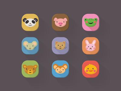 Ios Flat icons - Animals V2