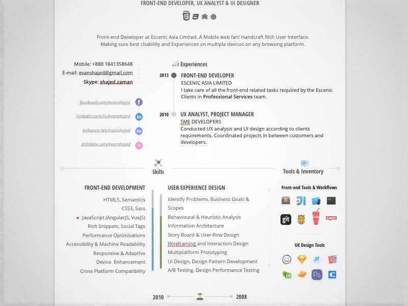 free creative resume design by shajed evan