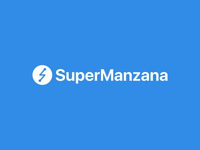 Logo y wordmark de SuperManzana branding logo design