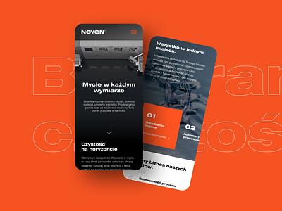 Noyen mobile design ui website industry orange flat clean web webdesign