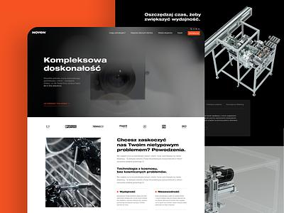 Noyen machines black industry orange ui simple website design clean webdesign flat web