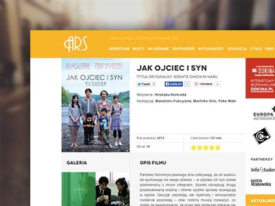 Ars ars cinema cracow film movie flat layout website web webdesign