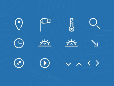Icons Set play sun arrows search wind location rounded set icons simply blue