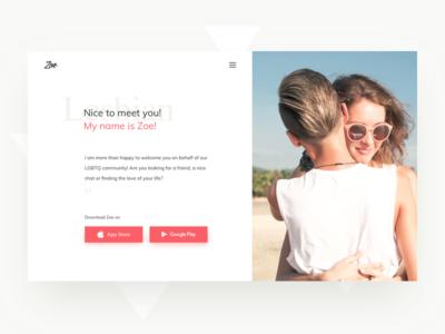 Zoe - Website website orange minimal lesbian dating