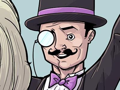 Fancy man fancy man inks digital monocle moustache mustachio bow tie illustration