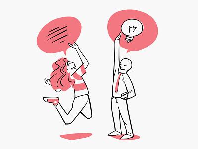 Heftwerk speech speech bubble bubble lines line work line art character light bulb illustration pink