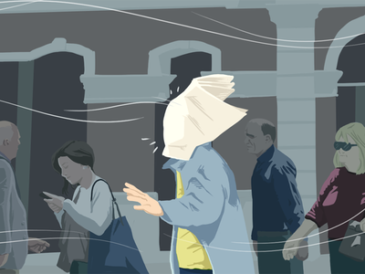 Blog Popup building street people wind newspaper color colour character illustration