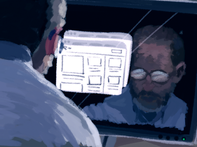 Designing for you guache reflection computer glasses male digital painting illustration accessibility