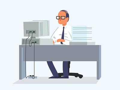 Wise Time desk time paperwork crt computer glasses character vector illustration