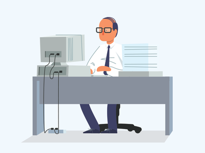 Wise Time desk time paperwork crt computer glasses character vector illustration