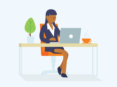 Wise Time suit plant desk tea coffee business laptop vector illustration
