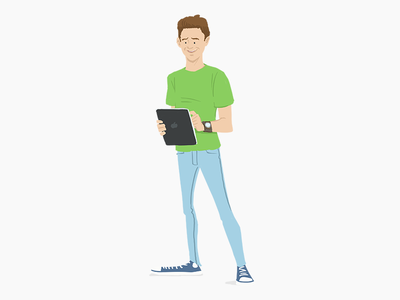 People first jeans cons ipad vibrant man illustration
