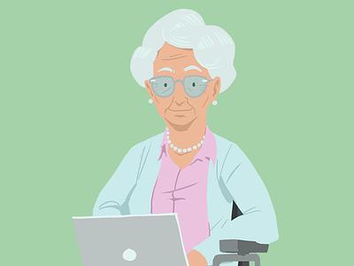 People first 3 pearls glasses grandma wheelchair laptop illustration
