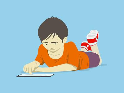 People first 4 vibrant playing ipad child illustration