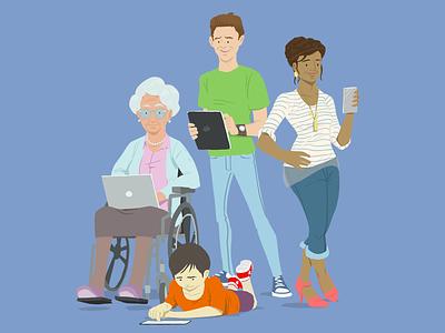 People First mobile laptop ipad cons jeans vibrant child grandma man woman illustration