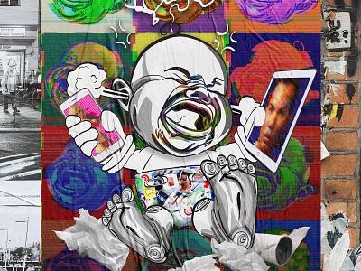 Glitch Baby adobe illustrator adobe illustrator draw adobe draw technology social commentary poster design poster illustration graphic design