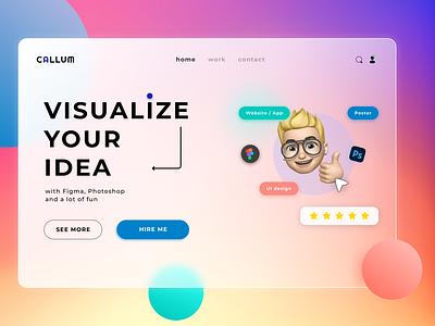 Visualize your idea website web desktop glassmorphism design ui