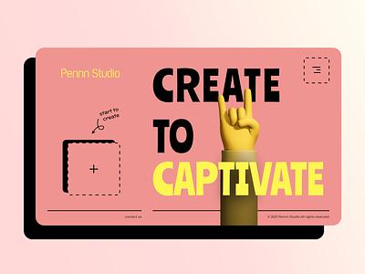 Penn Studio website modern retro retro yellow pink hand illustration website web desktop design ui