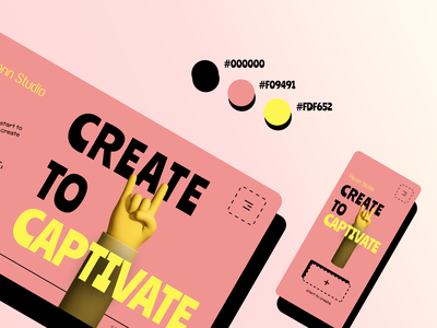 Pennn Studio Website yellow pink shadow illustration retro canva mobile website web ui desktop design