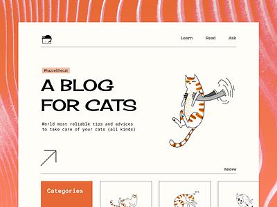A Blog For Cats blog retro cats website web illustration desktop design ui