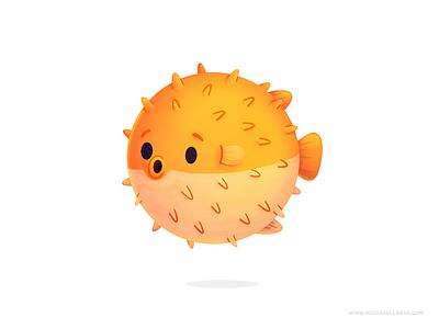 Puffer fish illustration kidlitart cartoon orange personajes oceano pez globo characters cute children kids mexico procreate ocean fish kawaii pufferfish