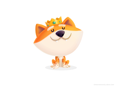 The king children hiro character cartoon cute kidliart king best friend procreate shiba inu dogs illustration