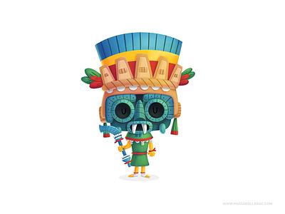 Tlaloc cartoons tlaloc kids children character cartoon cute kidlitart history aztecs. gods procreate illustration