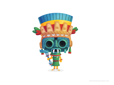 Tlaloc cartoons tlaloc kids children character cartoon cute kidlitart history aztecs. gods procreate illustration