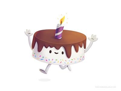 Cake children procreate birthday cake kidlitart character birthday cute cartoon kids mexico illustration