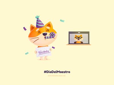 Dia del maestro hashtag social distance teacher shiba cute cartoon ilustracion kidlitart character children kids procreate mexico illustration