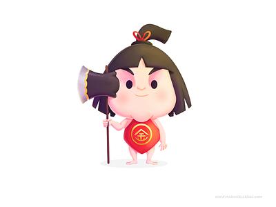 Kintaro folktale 金太郎 tale hero legend kintaro japan ilustracion cute character kidlitart procreate kids cartoon illustration