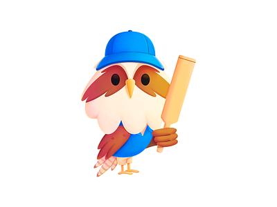 Simon - Cricket website branding media seahawk procreate india sports cricket mascot character illustration