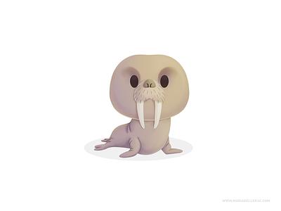 Walrus morsa walrus kidlitart cartoon children character cute procreate mexico mascot design design branding mascot illustration