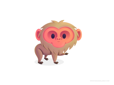 Japanese Macaque ape japan macaque ilustracion children kids procreate kidlitart character cartoon illustration mexico