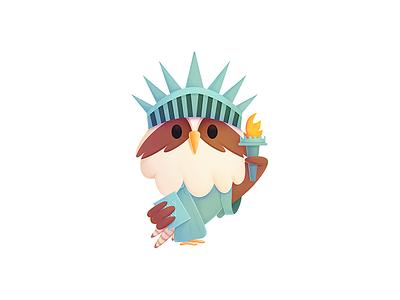 Simon - New York simon character seahawk media seahawk illustration design character design mascot new york statue of liberty procreate branding