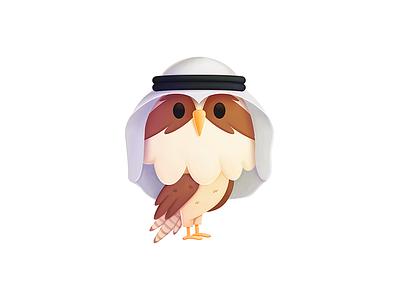 Simon - UAE ghutra emirates character media seahawk seahawk media illustration design character design mascot procreate branding
