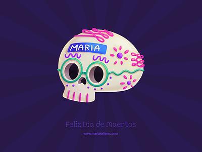 Feliz dia de muertos character kawaii candy 2020 illustration procreate cute sugar skull dia de muertos mexico