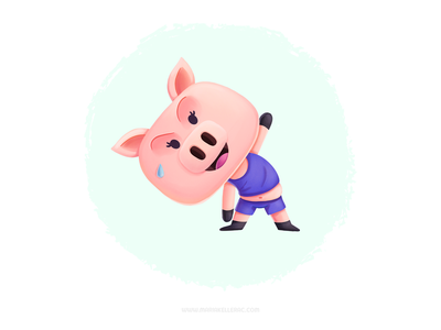 Get in shape kawaii cute cerdo gym sweat exercise pig mascot ilustracion kidlitart children character cartoon kids mexico illustration