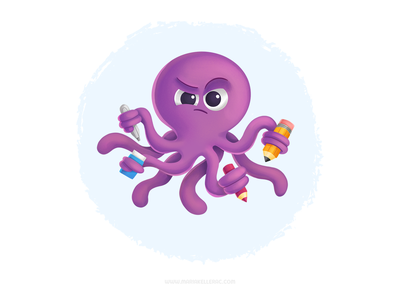 Artsy Octopus hardwork drawing art pulpo octopus characters cartoon cute ilustracion kidlitart procreate children mexico kids illustration