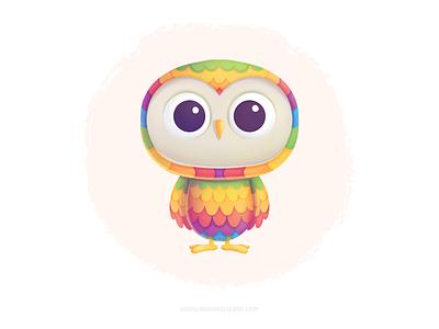 Colors にじ owl kidlitart cute character illustration procreate children フクロウ rainbow colors kids