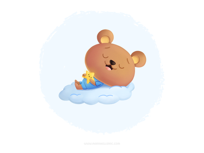 Sweet dreams ほし くま dreams sleep star bear kawaii cartoon cute character procreate kidlitart mexico kids illustration