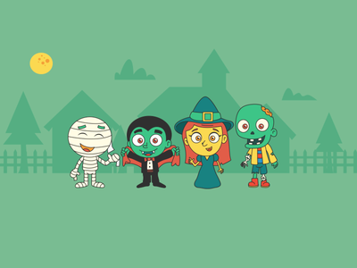 October Monsters october monster calendar witch zombie vampire mummy cute cartoon mexico