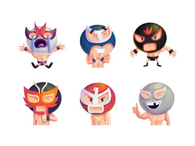 Lucha Libre iOS Sticker Pack fight pack ilustracion illustration emotions stickers ios luchadores mexico libre lucha