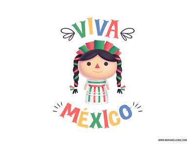 Viva Mexico ilustracion trapo rag illustration independence culture muneca viva doll mexico